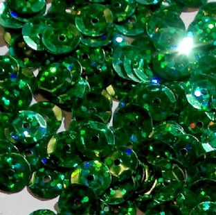 CLEARANCE Value Pack 50g 8mm Hologram Green Semi-cupped Sequins SAVE £1 BUY 1 GET 1 FREE